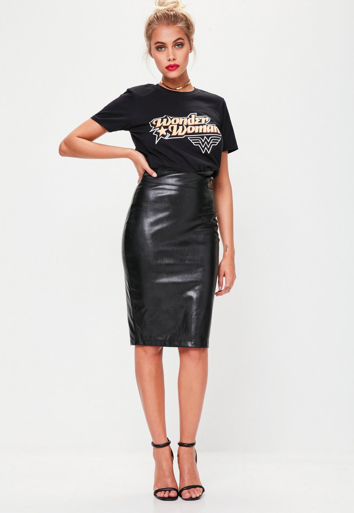 Black Faux Leather Pencil Midi Skirt   Missguided
