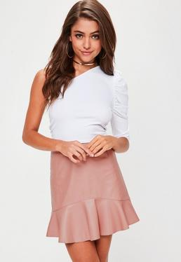 Pink Peplum Faux Leather Mini Skirt