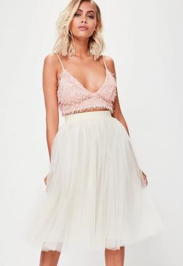 Cream Full Mesh Midi Skirt