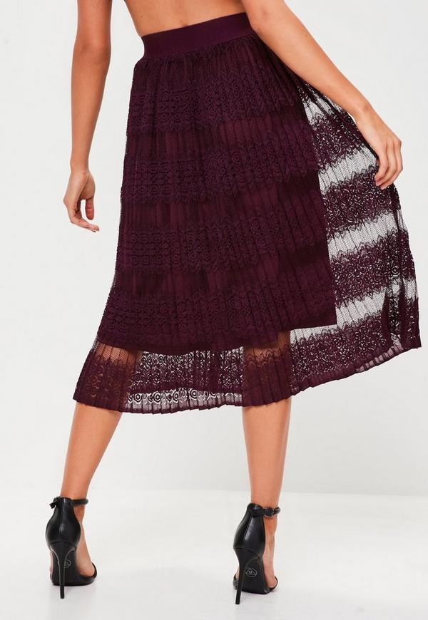 burgundy lace pleated midi skirt missguided australia