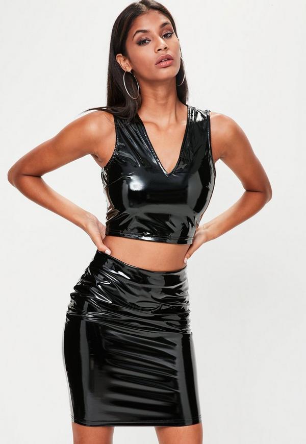 Black Vinyl Crop Top Mini Skirt Set | Missguided