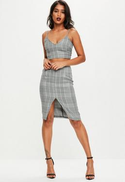 Grey Dog Tooth Check Co Ord Set