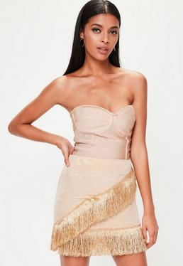 Gold Fringed Trim Skirt