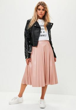 Pink Faux Leather Pleated Midi Skirt