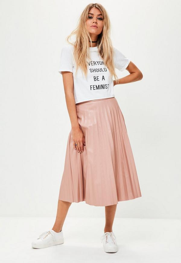 pink faux leather pleated midi skirt missguided