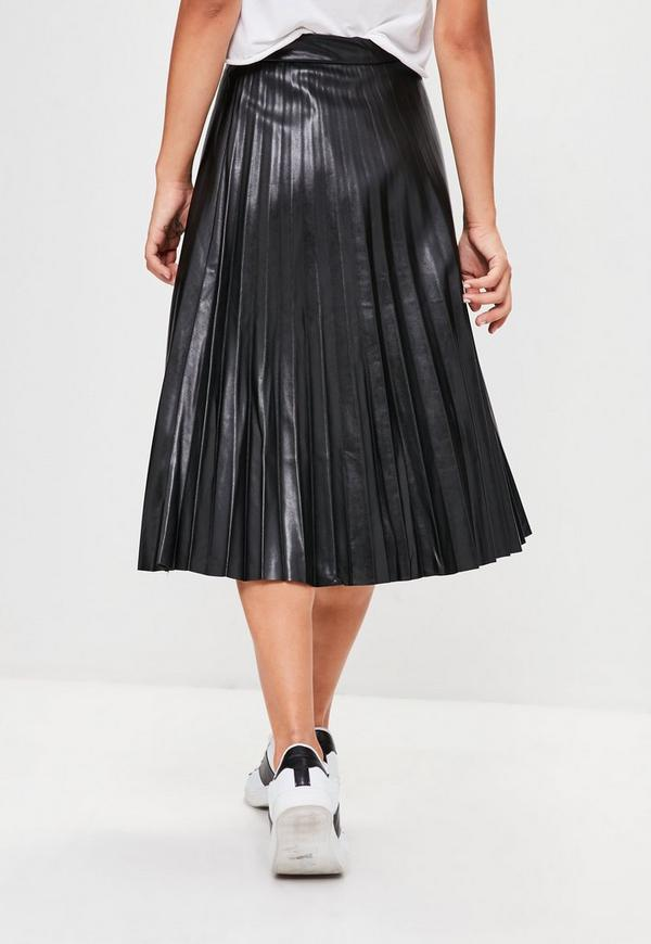 black pleated faux leather midi skirt missguided