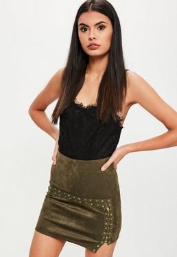 Khaki Lace Up Faux Suede Mini Skirt
