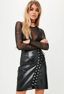 Black Hook and Eye Lace Up Skirt