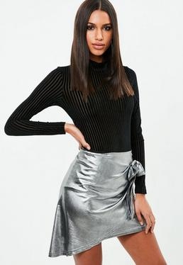 Silver Metal Wrap Bow Skirt