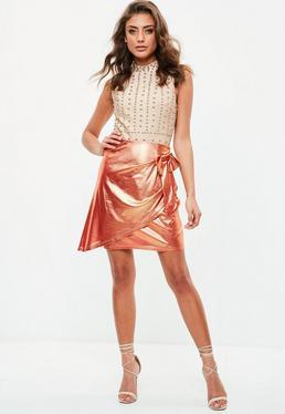 Orange Metallic Wrap Bow Skirt