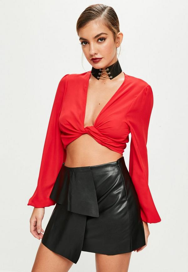 beac3257a Black Ruffle Faux Leather Skirt | Missguided Ireland