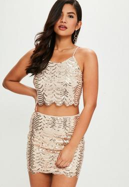 Gold Sequin Crop Two Piece Co Ord Set