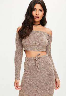 Brown Ribbed Bardot Knitted Crop Top