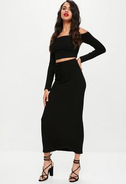 Black Ribbed Knitted Maxi Skirt