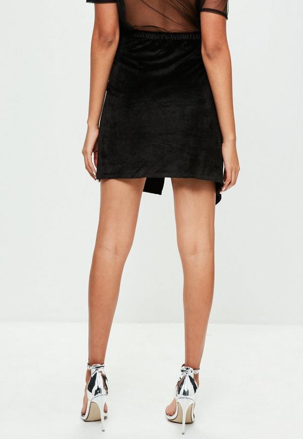 Black Velour Wrap Front Skirt Missguided