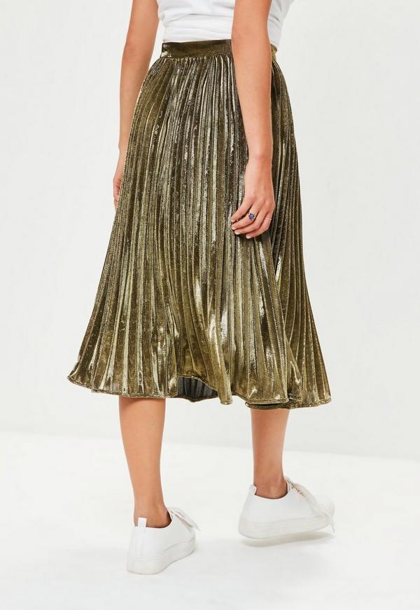 gold metallic pleated midi skirt missguided