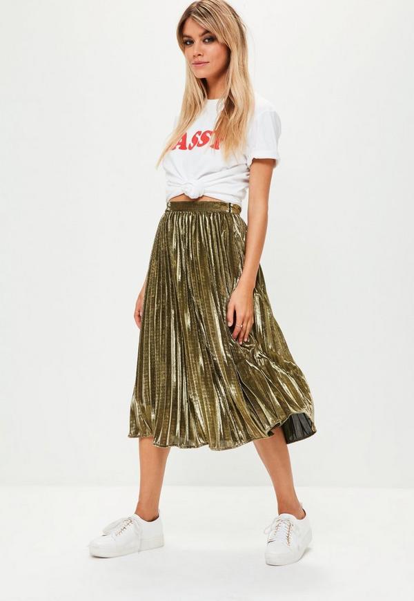dfe277b2d6da Gold Metallic Pleated Midi Skirt | Missguided