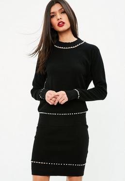 Czarna spódnica z perełkami