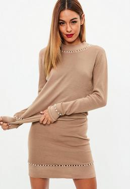 Brown Pearl Trim Knitted Skirt Co Ord