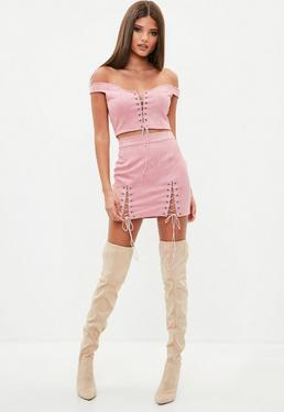 Pink Faux Suede Lace Up Skirt