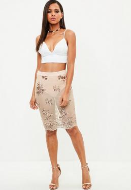 Nude Sequin Mesh Midi Skirt