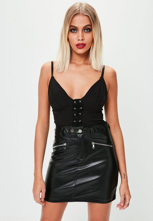 black zip pocket faux leather skirt missguided ireland