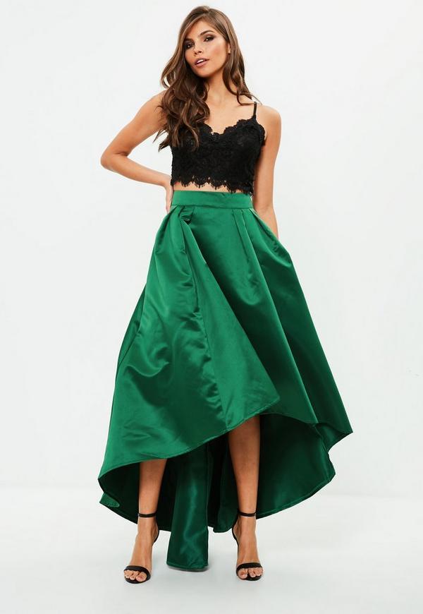 Green satin asymmetric hem maxi dress