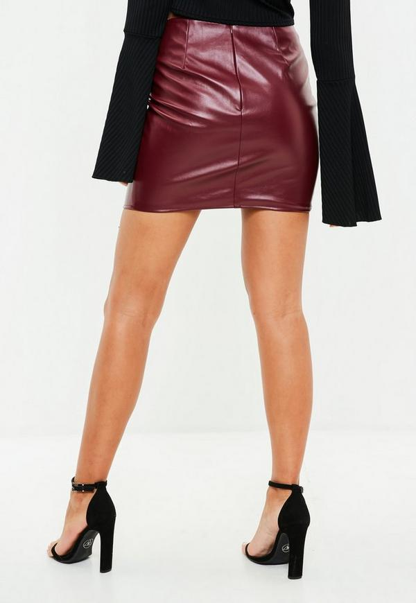 burgundy lace up faux leather mini skirt missguided