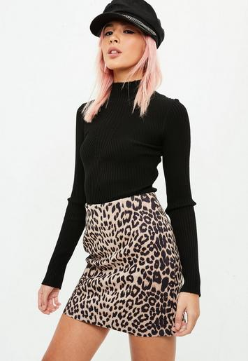 Brown Leopard Print Faux Suede Mini Skirt Missguided