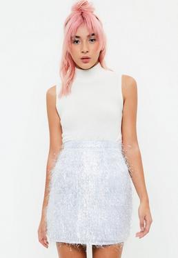 White Metallic Skirt
