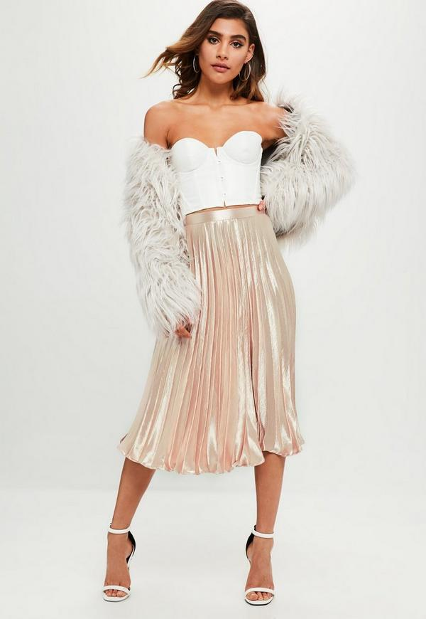 Pink Pleated Silky Skirt Missguided