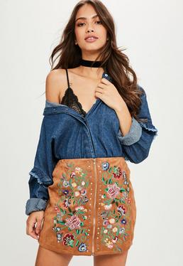 Brown Faux Suede Embroidered Skirt