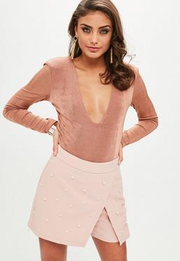 Nude Pearl Embellished Wrap Skirt