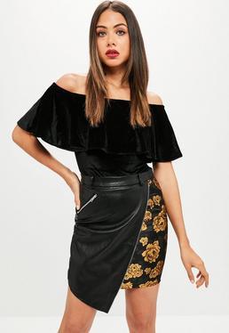 Black Faux Leather Zip Trim Skirt