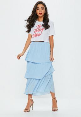 Blue Tiered Midi Skirt