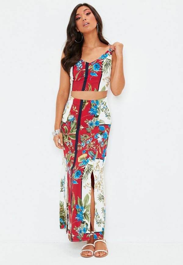 Red Printed Maxi Skirt Top Co Ord Set by Missguided