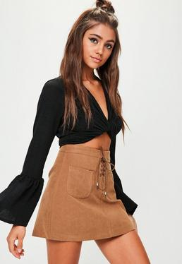 Brown Lace Up Faux Suede Mini Skirt