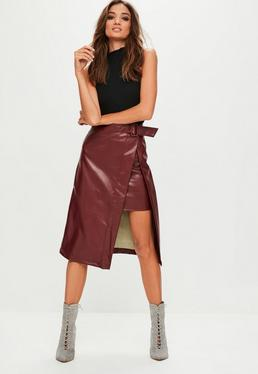 Burgundy Split Front Faux Leather Midi Skirt