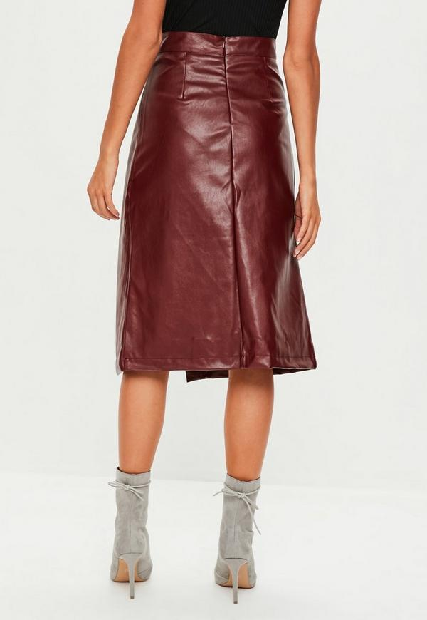 burgundy split front faux leather midi skirt missguided