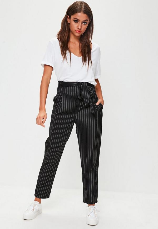 Navy Pinstripe Paperbag Trousers Missguided