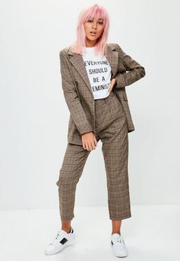 Brown Checked Trousers
