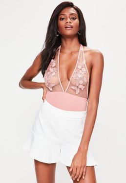Pink Applique Halter Neck Bodysuit