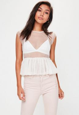 Cream Frill Mesh Top
