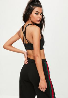 Active Black Cross Back Crop Top