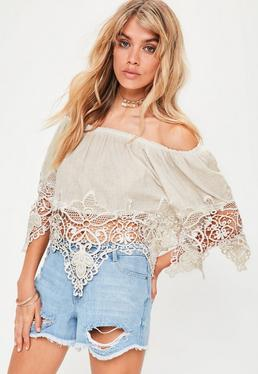 Beige Bardot Crochet Detail Top