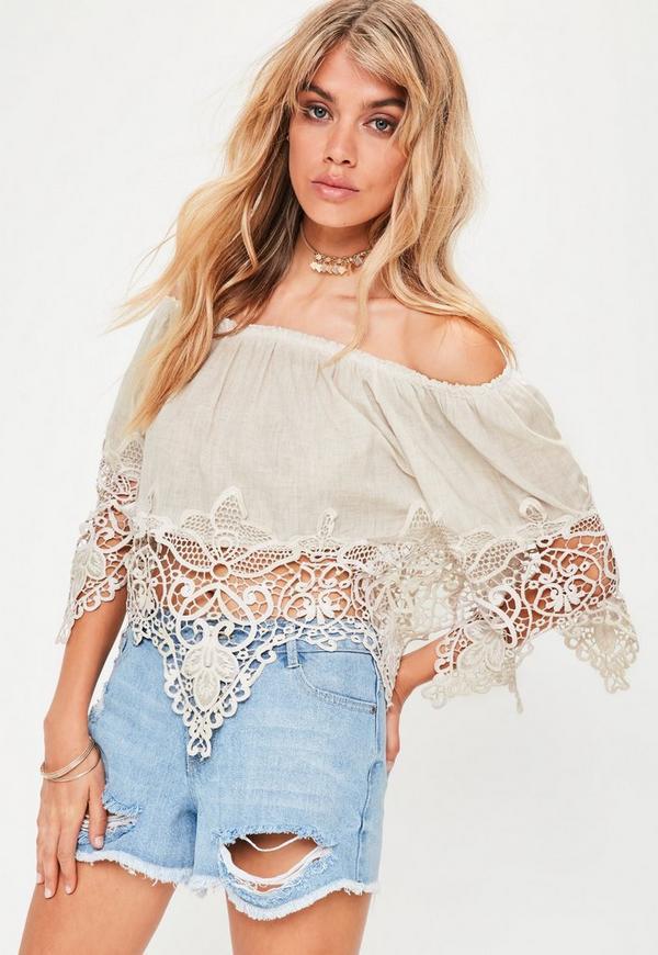 Beige Bardot Crochet Detail Top