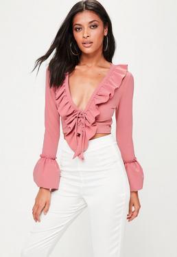 Pink Frill Tie Crop Top