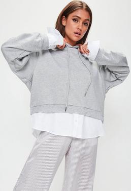 Grey Shirt Insert Hoodie Top