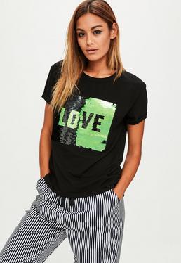 Black Love Sequin Panel T-Shirt