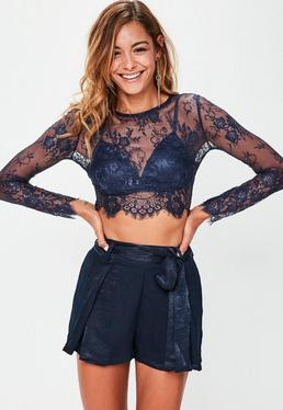 Navy Lace Long Sleeved Crop Top